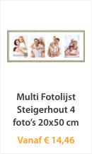 Multi fotolijst Steigerhout 4 foto's 20x50cm