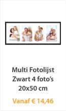 Multi Fotolijst Zwart 4 foto's 20x50cm